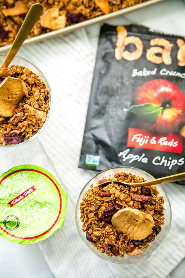 overhead photo of glasses of Apple Pecan Quinoa Granola with Trader Joe's apple yogurt and Bare Apple Chips