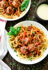 overhead photo of best EVER Spaghetti and Meatballs recipe in a white bowl