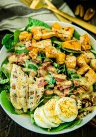 overhead closeup photo of the Healthy Harvest Cobb Salad