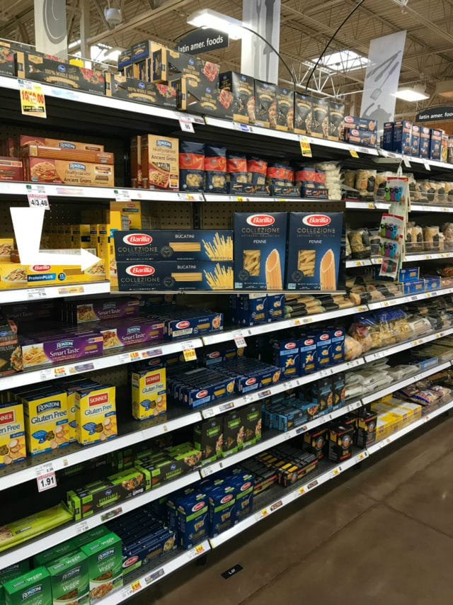 the aisle in Kroger to find the Barilla for Easy Greek Pasta Salad