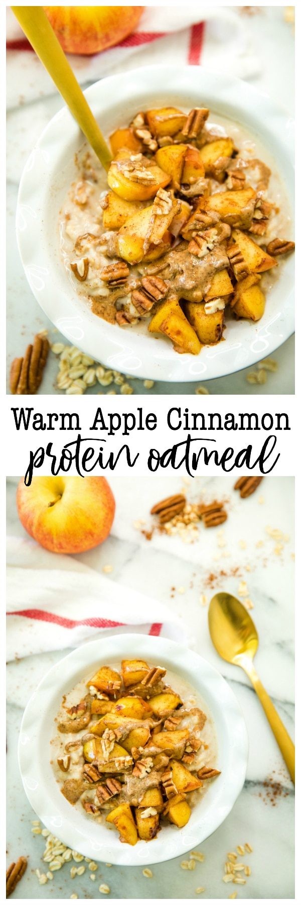 Warm Apple Cinnamon Protein Oatmeal has the hearty flavors of fall we love so much! You guys are in for a treat with this bowl of creamy protein-packed oats, topped with caramelized bites of tender apples and crunchy pecans to make for the most perfect nutritious cozy breakfast.