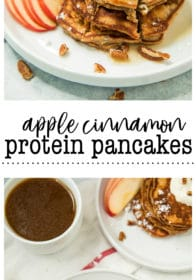 Pinterest image for Apple Cinnamon Protein Pancakes