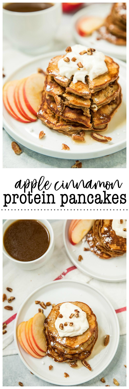 Pinterest image for Apple Cinnamon Protein Pancakes