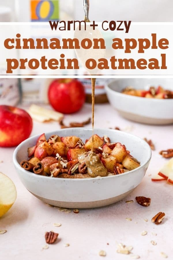 adding peanut butter to a bowl of Apple Cinnamon Oatmeal