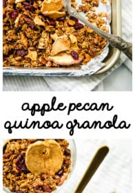pinterest image for Apple Pecan Quinoa Granola