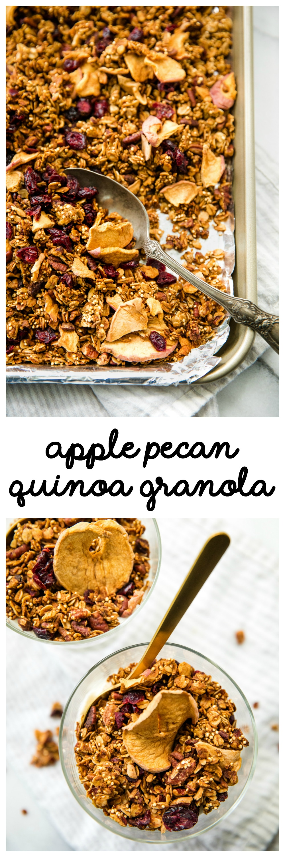 Kick off the fall season with a batch of this healthy Apple Pecan Quinoa Granola! It's perfect for a quick and easy breakfast!