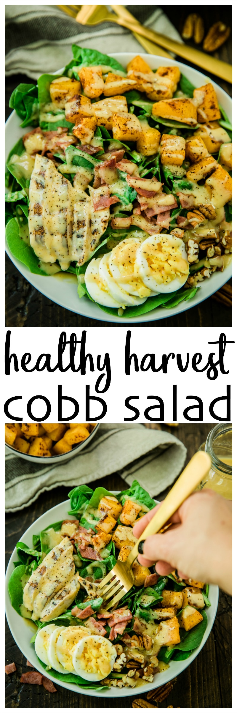 This hearty fall/winter Healthy Harvest Cobb Salad features roasted butternut squash and crunchy pecans that adds seasonal freshness to the traditional Cobb salad ingredients and the delicious honey mustard dressing really ties the whole thing together.