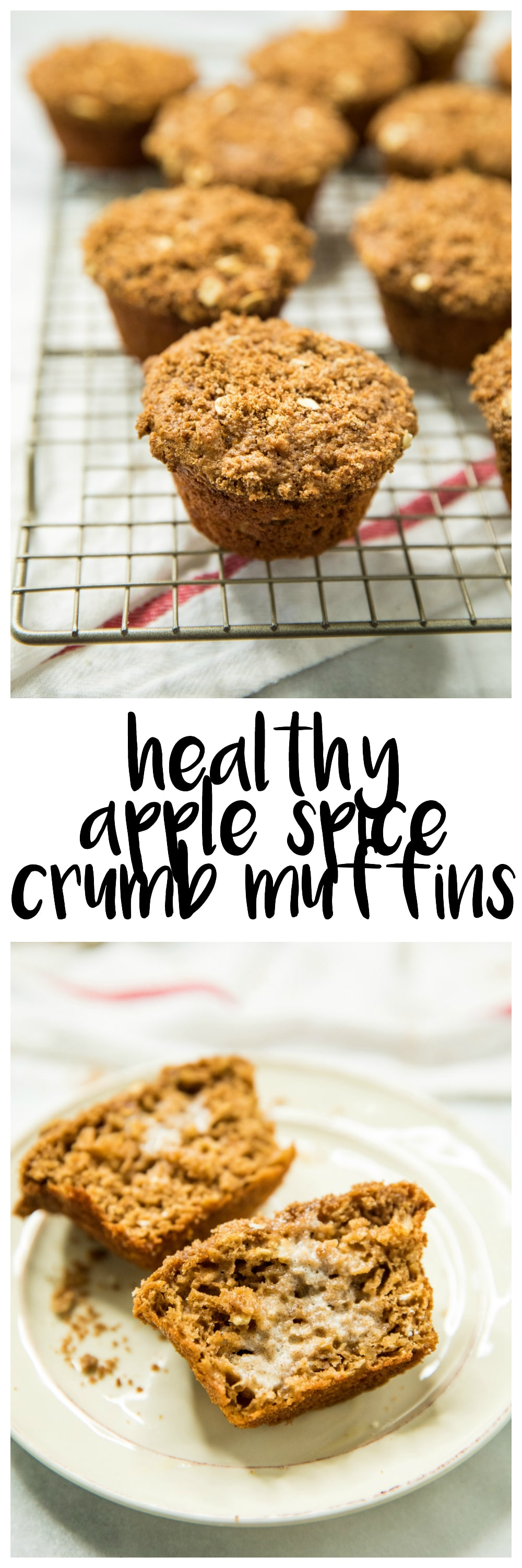 Sweet and crunchy on the tops, moist and bursting with warm fall flavors on the inside these Healthy Apple Spice Crumb Muffins are a MUST try!