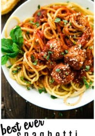 Pinterest Image for the best ever spaghetti and meatballs recipe