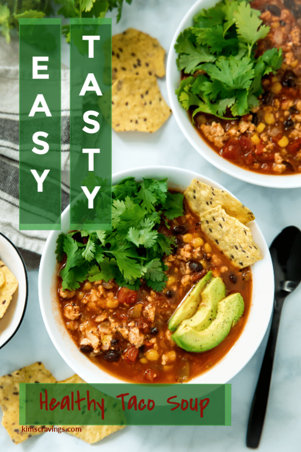 This healthy taco soup is beyond delicious and so quick and easy to make. It will be one of those go-to hearty soup recipes you make again and again!
