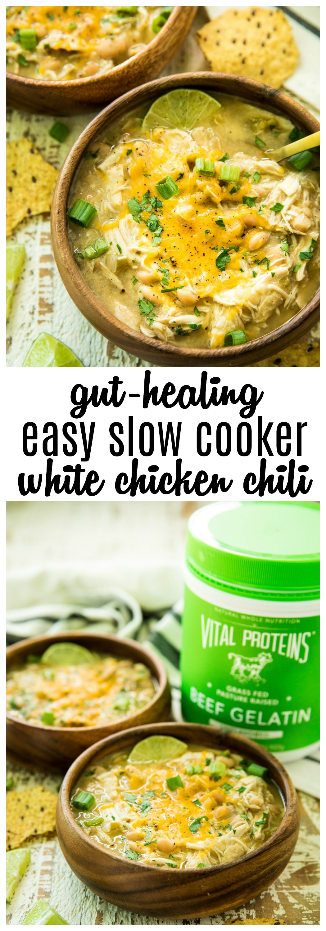 Pinterest image for Gut-Healing Easy Slow Cooker White Chicken Chili