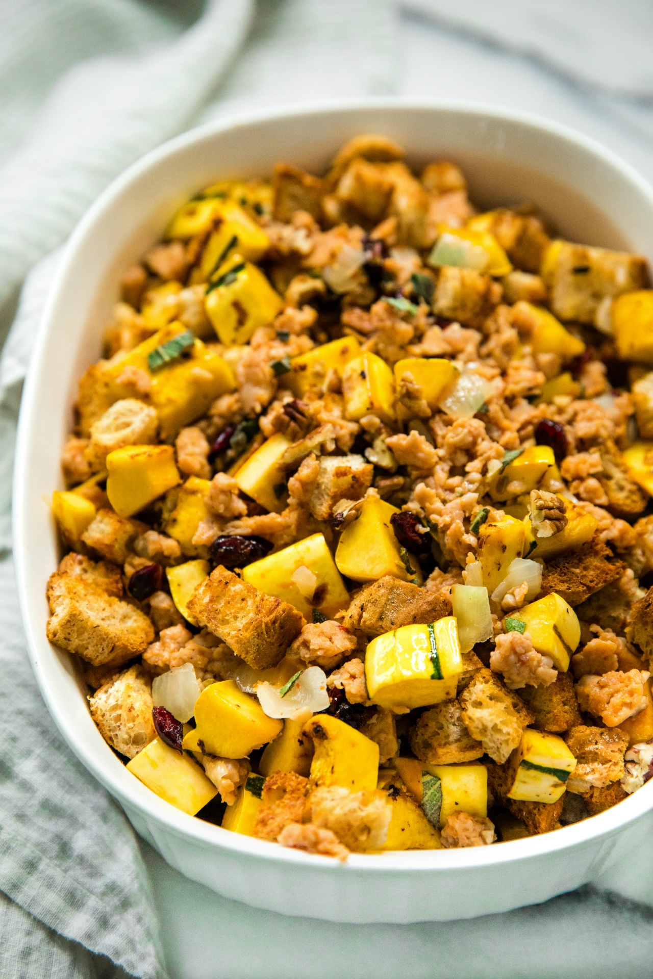 Switch up your holiday menu with this delicious Delicata Squash Stuffing! Loaded with so much goodness, this stuffing is flavor-packed and perfect for your holiday celebrations!