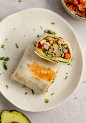 healthy breakfast burritos filled with sausage and potatoes