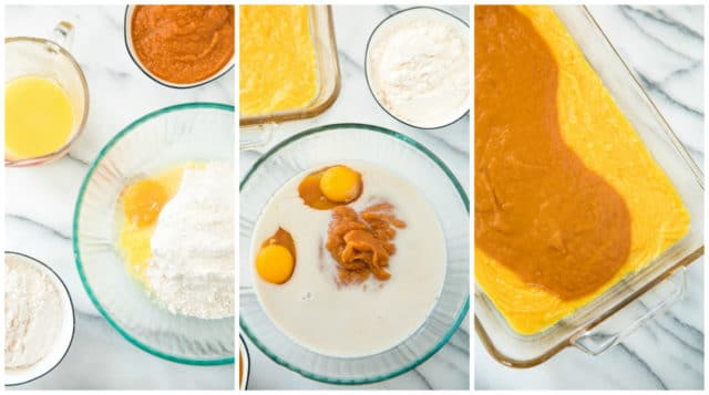 Mixing ingredients for Pumpkin Dessert Squares. Ingredients, such as cake mix, eggs and pumpkin pie mix are shown in glass bowls. Then the crust and filling are shown in a glass baking dish.