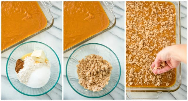 Mixing ingredients for the topping of the Pumpkin Dessert Squares. Ingredients, such as cake mix, butter, sugar and cinnamon are shown in glass bowls. Then the crust and filling are shown in a glass baking dish.