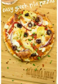 Pinterest image for Easy Greek Pita Pizzas Recipe