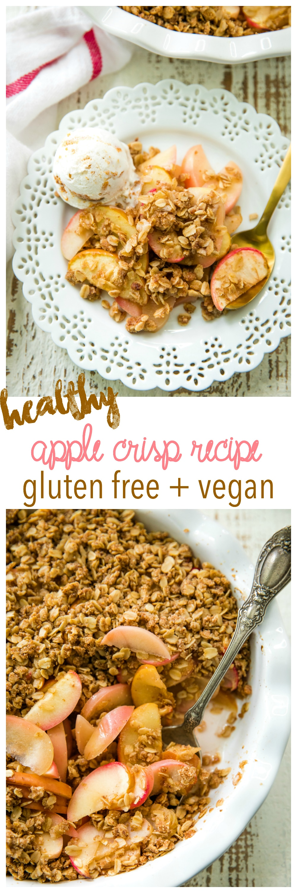 This gluten free, vegan, Healthy Apple Crisp Recipeis made with such nutritious ingredients you could totally eat it for breakfast, but it's also scrumptious enough to serve for dessert.