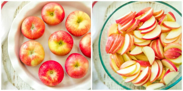 overhead image of red apples in a white pie plate and apple slices in a clear bowl