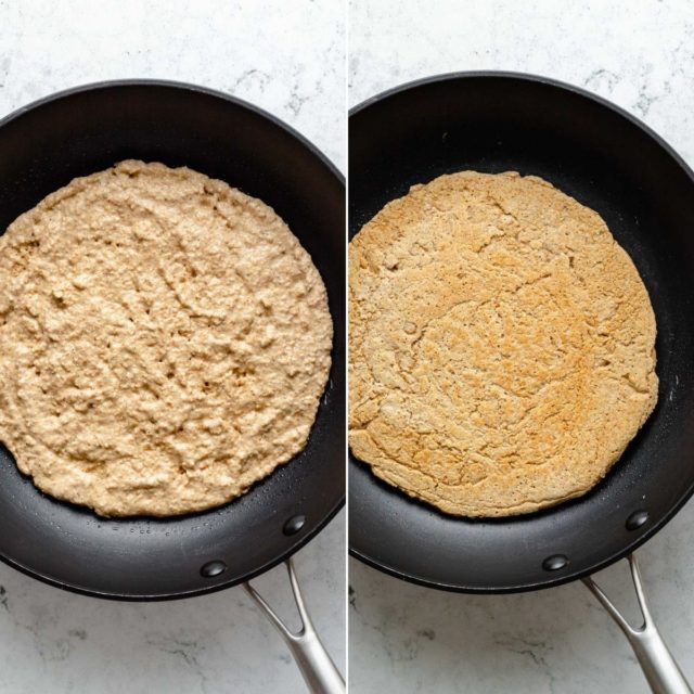 cooking an oat flour pizza crust in a skillet