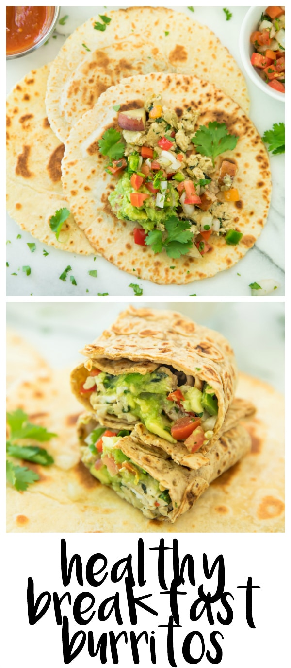 This easy Healthy Breakfast Burrito Recipe will get you up in the morning! I mean,what's not to love…eggs, chicken sausage, red potatoes, spinach, onion, red bell pepper, and all of your favorite toppings. Absolutely the best (and nutritious) ingredients all wrapped up into a warm and yummy tortilla. Perfect for the morning or anytime, and my kind of meal!