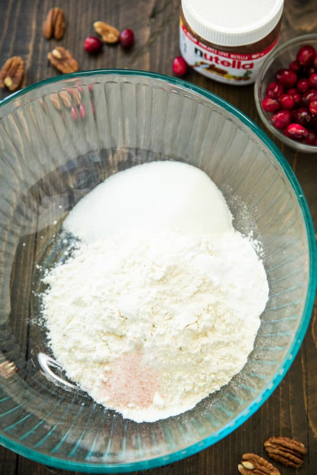 dry ingredients for cranberry bread in a large mixing bowl