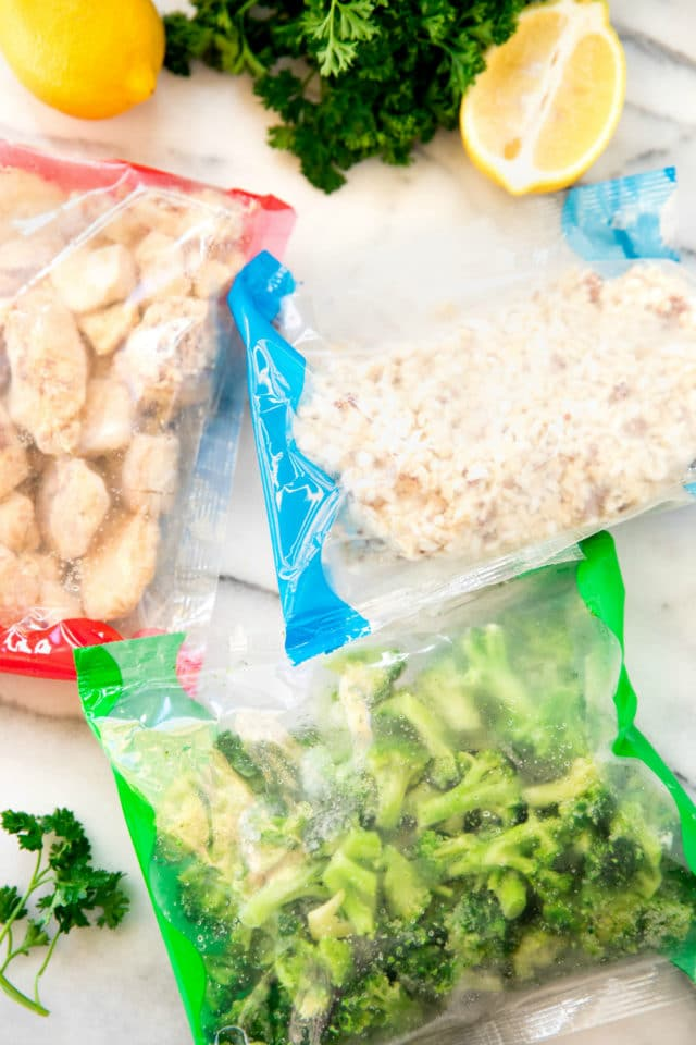 the packaged chicken, rice and broccoli from the Stouffer's Complete Family Meal Kit