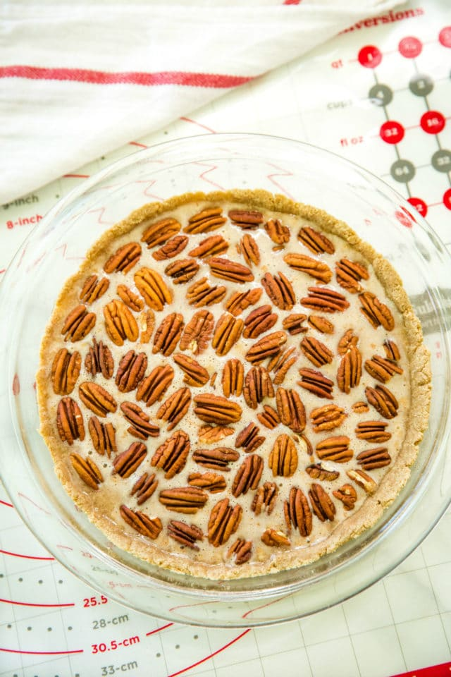 healthy pecan pie before baking