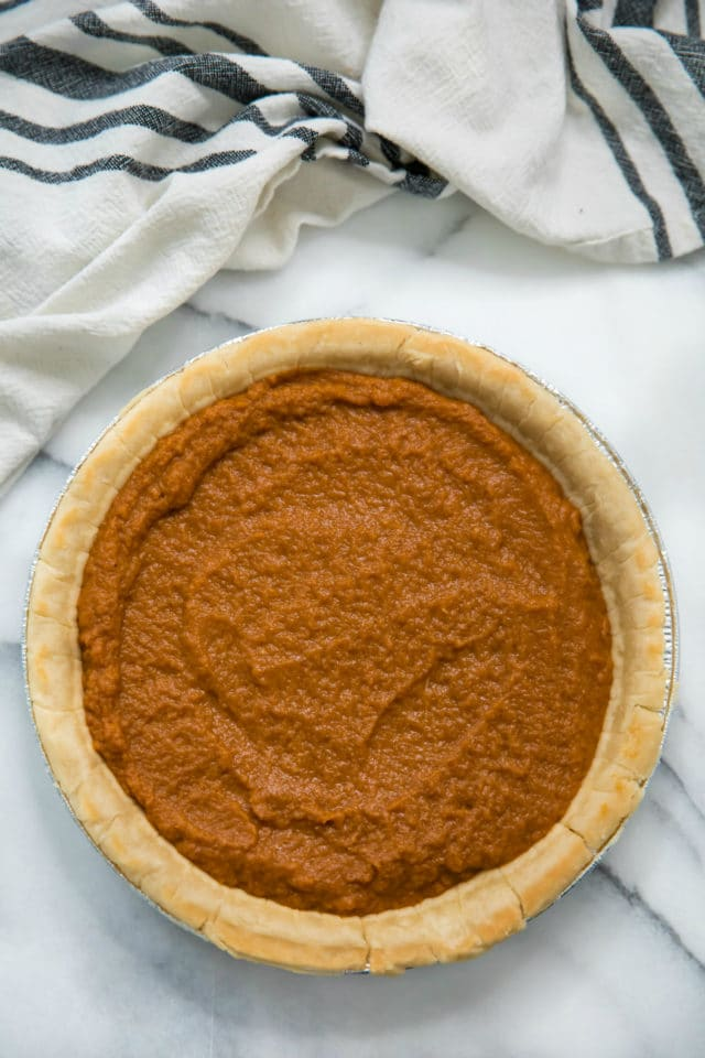 Healthy Pumpkin Pie ready to go in the oven