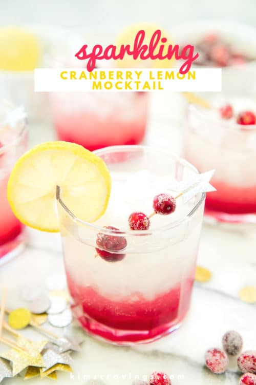 cranberry lemon non-alcoholic drink served in a short cocktail glass