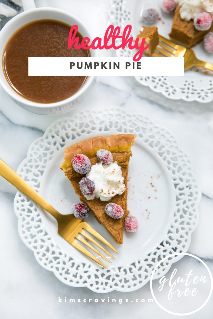A lightened up version of the traditional pumpkin pie recipe, this easy-to-make Healthy Pumpkin Pie is so delicious you'll never guess it's gluten free, dairy free and the filling has no sugar, evaporated milk, or flour! #glutenfree #pumpkinpie #thanksgiving #healthy
