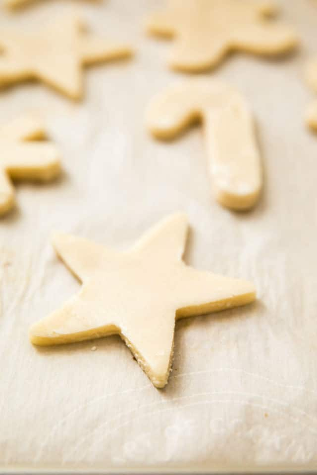 cut-out sugar cookies on a baking sheet