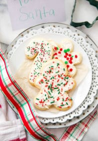holiday sugar cookies decorated with frosting and sprinkles