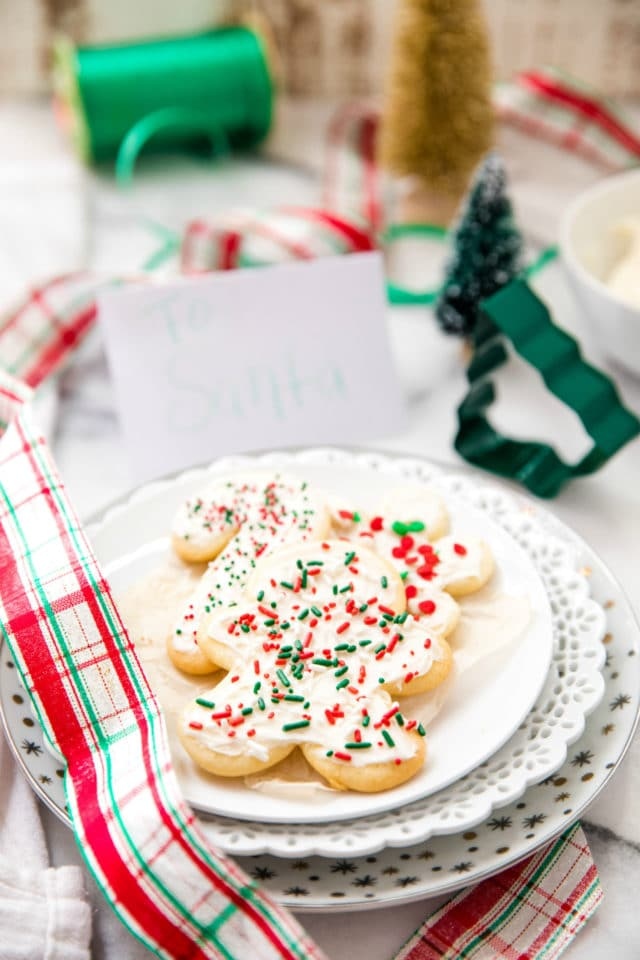 decorated sugar cookies on a white plate