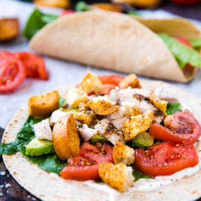 Italian Chicken Wraps on parchment paper