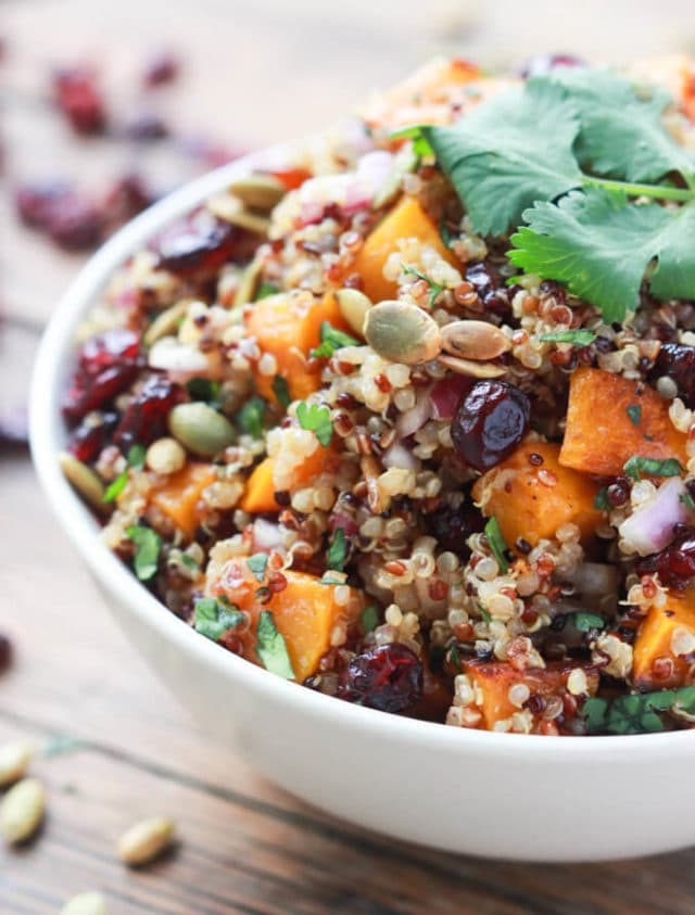 butternut squash quinoa salad in a white bowl