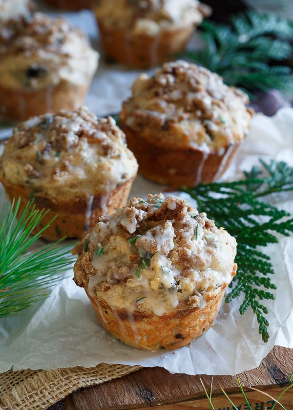 muffins near a sprig of greenery served Christmas morning