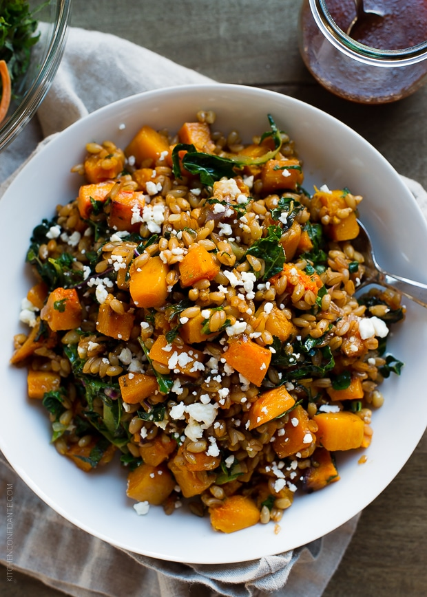 farro and butternut squash salad served in a white bowl
