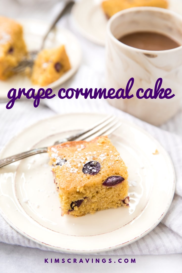 A simple, rustic, lemony grape cornmeal cake recipe with all the depth of fresh Jellyberry grapes from Divine Flavor. Bake this yummy, delicate, lightly sweet cornmeal cake and watch it disappear! #snackcake #brunchcake #cornmealcake