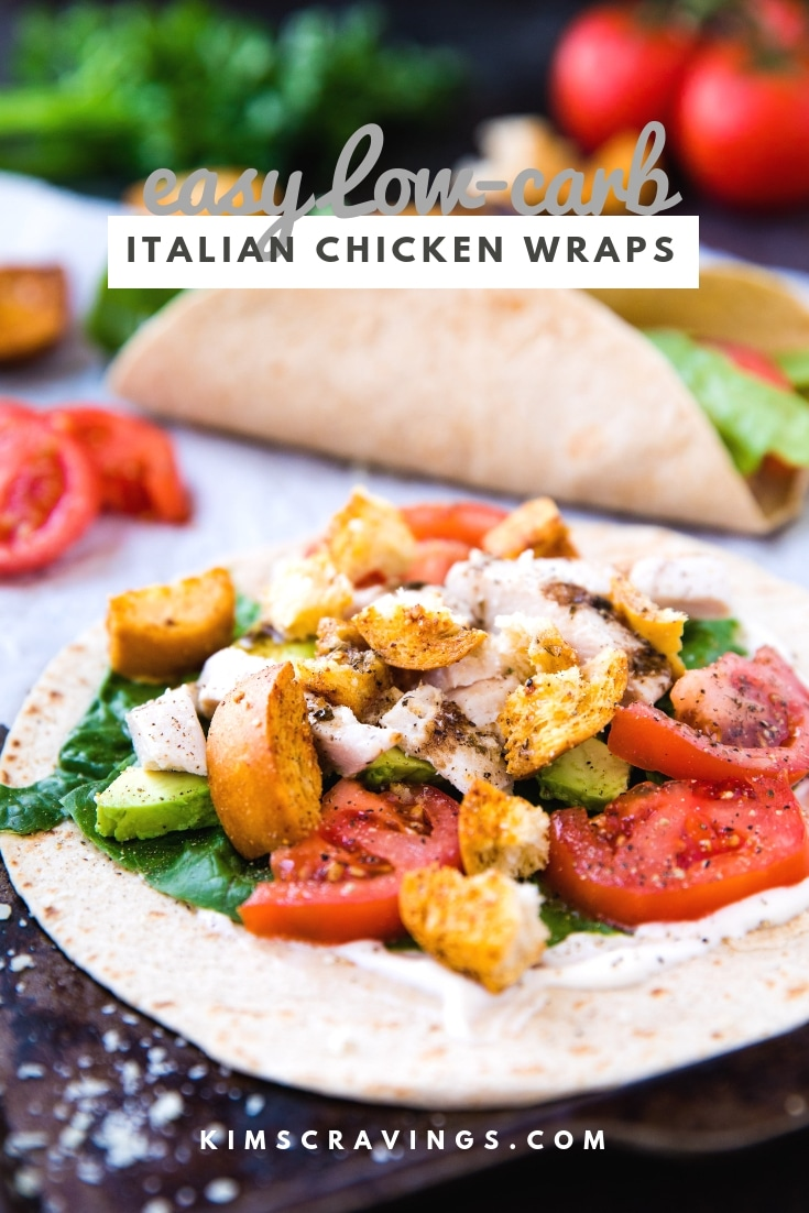 Easy Low Carb Italian Chicken Wraps with chicken, lettuce, tomatoes, avocado, parmesan cheese, croutons, and Italian dressing all wrapped up in soft Mission® Carb Balance Whole Wheat Tortillas. #lunch #easylunch #chickenwrap #lowcarb
