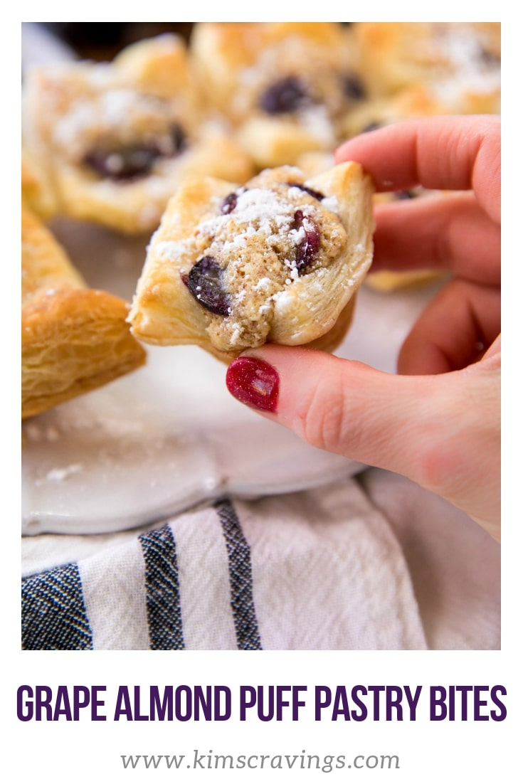 Sweet, tasty and perfectly bite-sized for entertaining, these grape almond puff pastry bites start with flaky puff pastry crust that's kissed with a sweet almond grape filling. This one is a big hit at dinner parties… or for any old regular Saturday night! #puffpastrybites #puffpastryappetizer #grapealmondbites