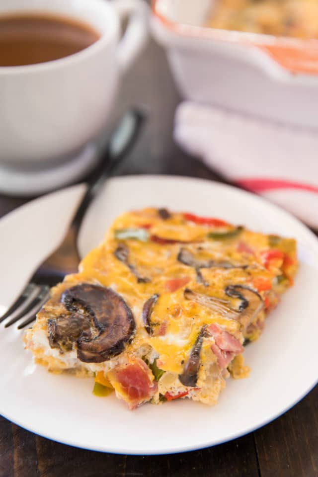plated breakfast casserole with mushrooms, bell pepper and ham