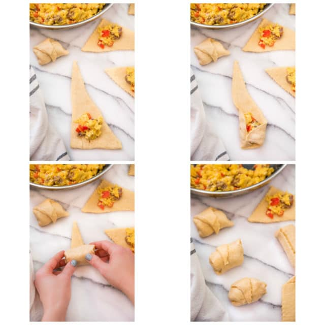 steps for stuffing and rolling egg sausage breakfast crescent rolls