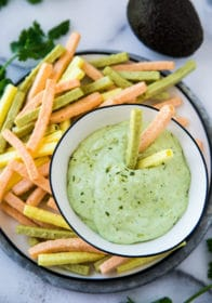 avocado dip served with veggie straws