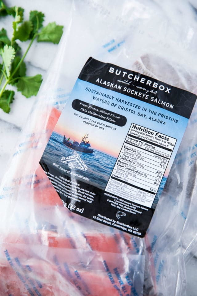 ButcherBox package of salmon on a white countertop