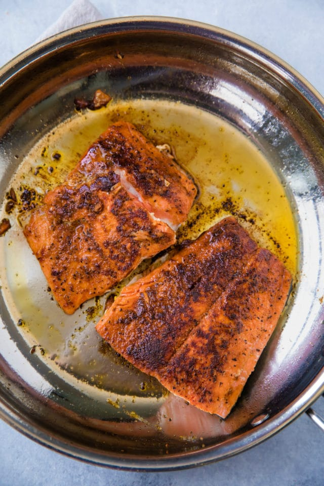 searing salmon flesh side up in a small skillet