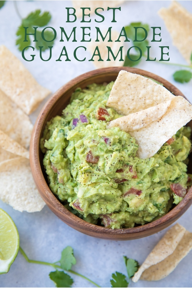 Learn how to make the best homemade guacamole with this recipe! This genuine guacamole recipe turns out perfectly every time, and it's so easy to make. #partyfood #guacamole #appetizer