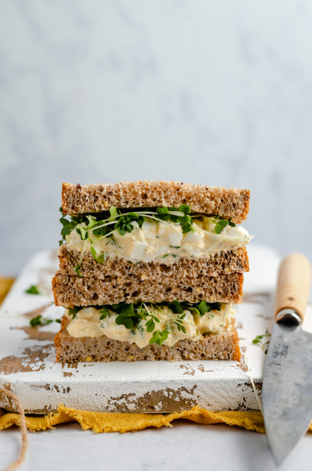 healthy egg salad on sandwich bread