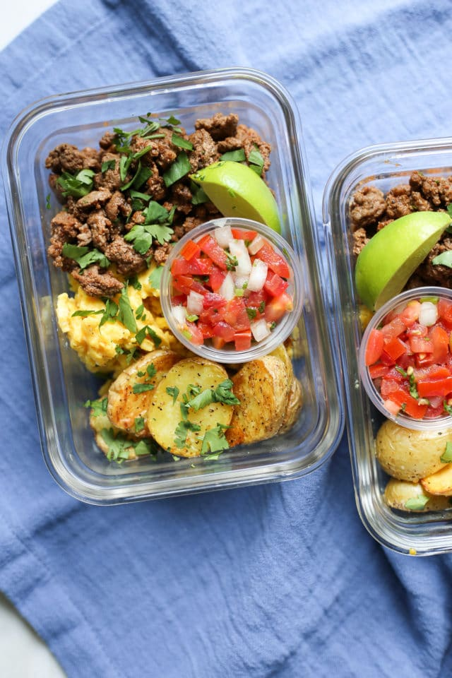 Meal Prep Breakfast Taco Bowls in glass meal prep containers