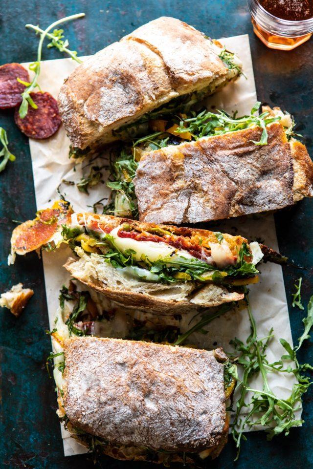 Italian sandwich cut up on parchment paper