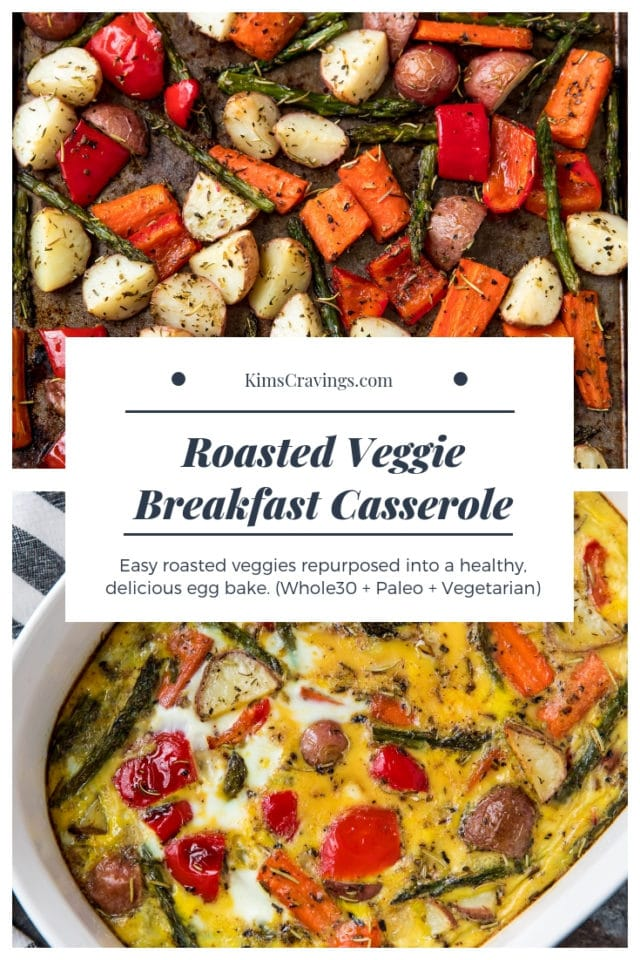sheet pan with roasted veggies and egg bake with roasted veggies